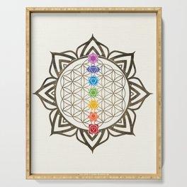 Flower of Life Chakra Healing Mandala Serving Tray