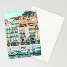 Cannes Downtown City Print, Cannes Skyline, Old Town French Riviera, Yachts And Boats, City Marina Port In France Stationery Cards