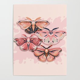 Pink Moths Poster