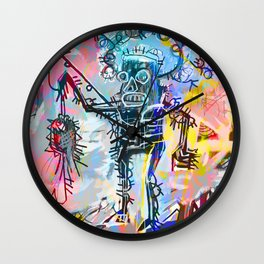 A digitally and roughly vectorised Jean Michel Basquiat Wall Clock