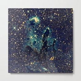 Pillars of Creation GalaxY  Teal Blue & Gold Metal Print