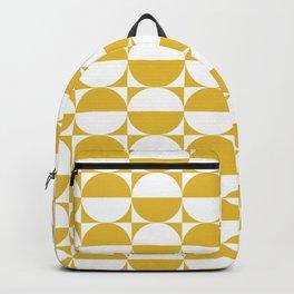 Mid Century Modern Half Circles Pattern Mustard Yellow Backpack