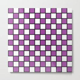 Checkered Outlined Purple and Black Metal Print