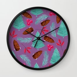 Winter Forest Purple Wall Clock