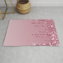 Pink Dripping Glitter Rug