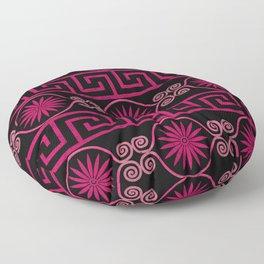 Ornate Greek Bands in Pink Floor Pillow
