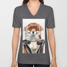 """ Morning fox "" Red fox with her morning coffee Unisex V-Ausschnitt"
