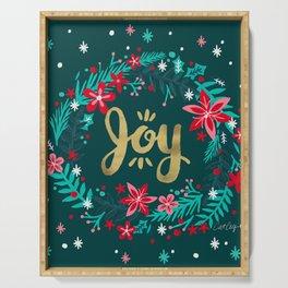 Joy Wreath – Teal Serving Tray
