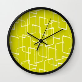 Lime Green Retro Geometric Pattern Wall Clock