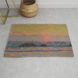 Last Sunset of Summer coastal landscape painting by Sydney Laurence Rug