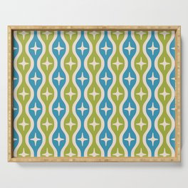 Mid century Modern Bulbous Star Pattern Chartreuse and Cerulean Serving Tray