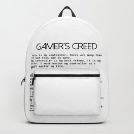 Gamer's Creed Console Gamer Controller Version Black Backpack