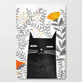 black cat with botanical illustration Cutting Board