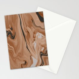 Abstract Brown Black Marble Stationery Cards