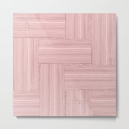 Woven Bamboo Texture Dusty Rose Metal Print