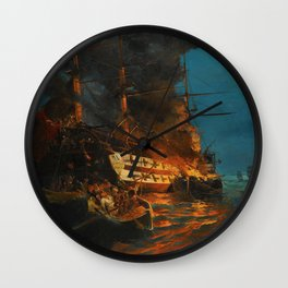 The Burning of a Turkish Frigate Wall Clock