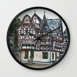 German streetscape ink drawing Wall Clock