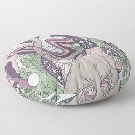Jurassic Portal | Purple Haze Palette | Dinosaur Science Fiction Art Floor Pillow