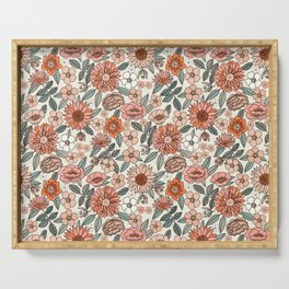 70s flowers - 70s, retro, spring, floral, florals, floral pattern, retro flowers, boho, hippie, earthy, muted Serving Tray