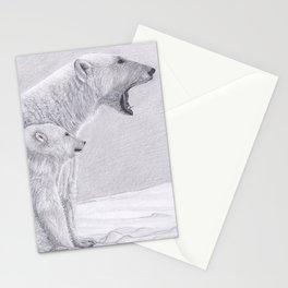 Polar Bear Family - Pencil Drawing Artic Wildlife Artwork Stationery Cards