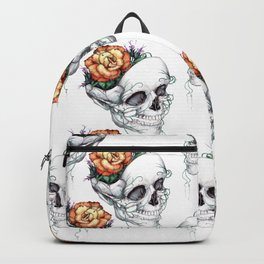 Skull with Flowers Growing out of Head Backpack