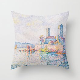 Paul Signac - The Towers at Antibes Throw Pillow
