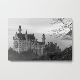 Black and White Neuschwanstein Castle Metal Print