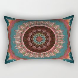 Midnight Sacred Garden Antique Embroidery Mandala Rectangular Pillow