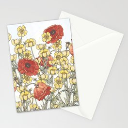 Buttercup and poppy watercolour Stationery Cards