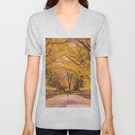 Autumn in Central Park Unisex V-Neck