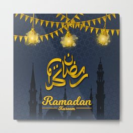 Ramadan Kareem in Golden Arabic Calligraphy with Festival Flags and Lantern Metal Print