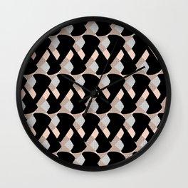 Weave me alone // pink, black + polka dot knit camo pattern Wall Clock