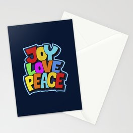Joy, love and peace. Multicolor fun bold typography for good vibes people Stationery Cards