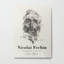 Vintage poster-Nicolai Fechin-pencil sketches-old man. Metal Print