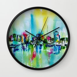 Abstract View of Downtown Long Beach Coastline Wall Clock