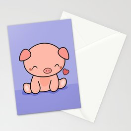 Cute Kawaii Pig With Heart Stationery Cards