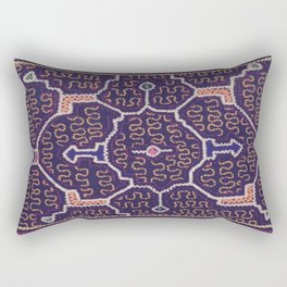 Song to Bring Wealth & Prosperity - Traditional Shipibo Art - Indigenous Ayahuasca Patterns Rectangular Pillow