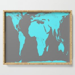 World Map Gray & Turquoise Serving Tray