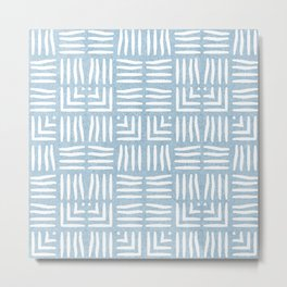 Nappy Faux Velvet Wicker Weave in Powder Blue on Blue Metal Print