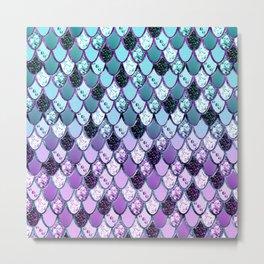 Purple Teal Mermaid Princess Glitter Scales #1 #shiny #decor #art #society6 Metal Print