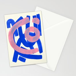 Tribal Pink Blue Fun Colorful Mid Century Modern Abstract Painting Shapes Pattern Stationery Cards