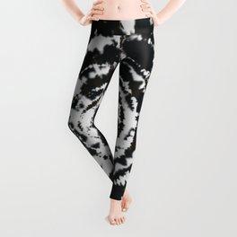 Black and White Bulls Eye Pattern Hippie Watercolor Tie Dye Leggings