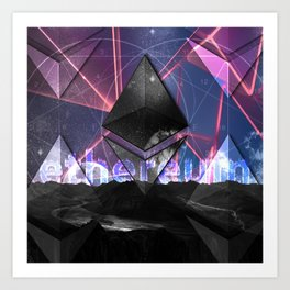 Ethereum Moon and Stars landscape Art Print