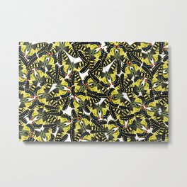 tiger swallowtail butterfly pattern graphic white Metal Print