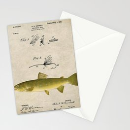 Vintage Brown Trout Fly Fishing Lure Patent Game Fish Identification Chart Stationery Cards