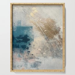 Embrace: a minimal, abstract mixed-media piece in blues and gold with a hint of pink Serving Tray