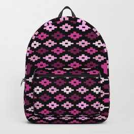 Geometric Flower Cross Stitch Appearance - Rose Pink On Black Backpack