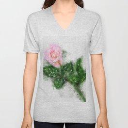 pink rose watercolor Unisex V-Neck