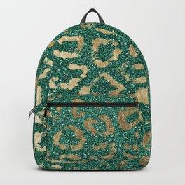 Forest green gold foil trendy animal print glitter Backpack