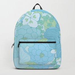Light Blue Pastel Vintage Floral Pattern Backpack